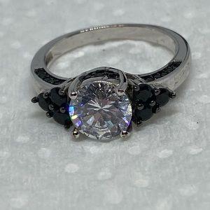 Faux diamond ring faux onyx silver tone size 7.25